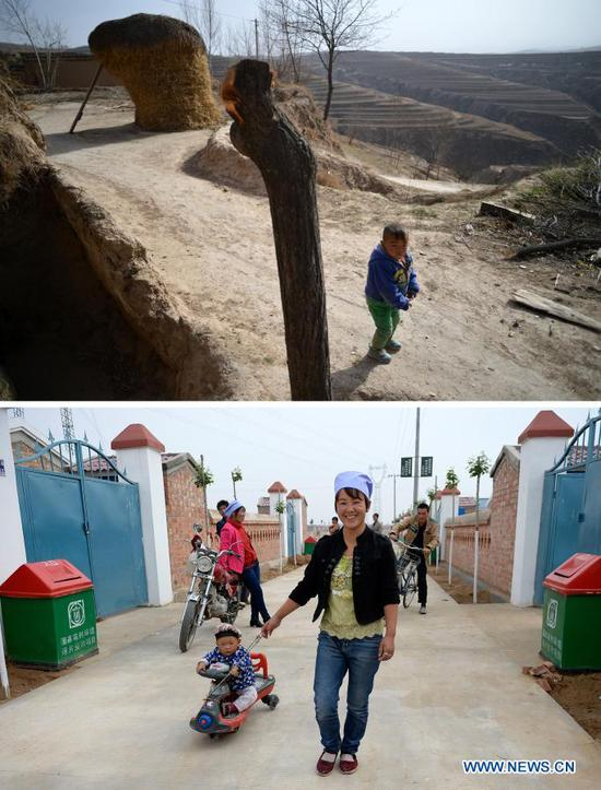 TOP: A boy plays by himself on the dry tableland of Hongbaiyang Township, Pengyang County, Guyuan, northwest China's Ningxia Hui Autonomous Region, June 15, 2013; BOTTOM: Zhang Junming's daughter-in-law takes her child at the Binhe Jiayuan relocation site in Yinchuan, northwest China's Ningxia Hui Autonomous Region, June 22, 2015. Zhang Junming, 55, once lived in Hongbaiyang Township, an economic backwater in southern Ningxia. When he was young, Zhang had been severely injured in an accident, and hence suffered from leg disabilities that prevented him from seeking job opportunities in the big cities. So he and his family had to scrape a living out of poor yields on the barren farmland. The quality of life was exacerbated by lack of drinking water and poor traffic condition. Such difficult scenario came to a turning point in 2013, when the Zhang family moved out of Hongbaiyang under a government-backed ecological poverty-relief relocation scheme. The relocation site they moved into has paved roads, sound infrastructure and a slew of support policies, which rekindled Zhang's hope for the future. Eight years since the relocation, huge changes have taken place in the life of the Zhang family. At present, Zhang's two sons work in the regional capital Yinchuan, whereas his daughter-in-law is employed in a textile factory nearby. Meanwhile, both Zhang and his wife earn from job posts with social sponsorship. (Xinhua/Wang Peng)