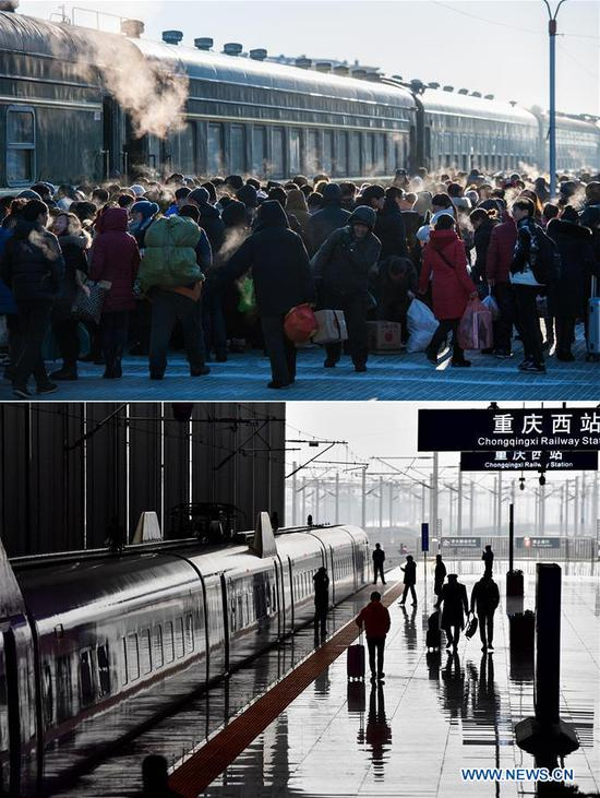 This combo photo shows passengers boarding an old-style green train on a platform at the Genhe Railway Station in Hulun Buir, north China's Inner Mongolia Autonomous Region, on Jan. 31, 2016 (top, photo taken by Lian Zhen); and a bullet train which is about to depart from Chongqing West Station in southwest China's Chongqing, Feb. 12, 2018 (bottom, photo taken by Liu Chan). (Xinhua)