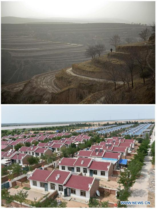 TOP: Photo taken on June 15, 2013 shows the Loess Plateau in Zhang Junming's hometown Hongbaiyang Township in Pengyang County, Guyuan, northwest China's Ningxia Hui Autonomous Region; BOTTOM: Photo taken on June 22, 2015 shows a poverty-relief relocation site in Yinchuan, northwest China's Ningxia Hui Autonomous Region. Zhang Junming, 55, once lived in Hongbaiyang Township, an economic backwater in southern Ningxia. When he was young, Zhang had been severely injured in an accident, and hence suffered from leg disabilities that prevented him from seeking job opportunities in the big cities. So he and his family had to scrape a living out of poor yields on the barren farmland. The quality of life was exacerbated by lack of drinking water and poor traffic condition. Such difficult scenario came to a turning point in 2013, when the Zhang family moved out of Hongbaiyang under a government-backed ecological poverty-relief relocation scheme. The relocation site they moved into has paved roads, sound infrastructure and a slew of support policies, which rekindled Zhang's hope for the future. Eight years since the relocation, huge changes have taken place in the life of the Zhang family. At present, Zhang's two sons work in the regional capital Yinchuan, whereas his daughter-in-law is employed in a textile factory nearby. Meanwhile, both Zhang and his wife earn from job posts with social sponsorship. (Xinhua/Wang Peng)