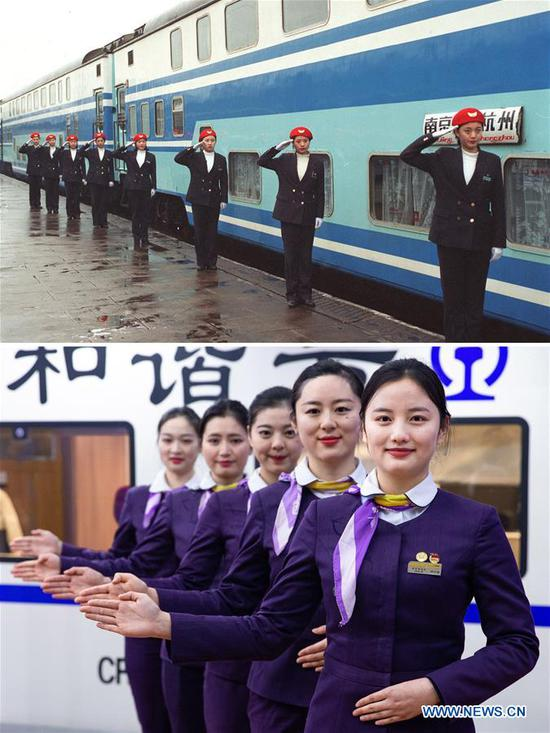 This combo photo shows attendants getting ready to work aboard the train K1/6 during the Spring Festival travel rush in Nanjing, east China's Jiangsu Province in January of 1998 (top, photo taken by Gao Meiji); and bullet train stewards taking part in an etiquette training in Nanjing, east China's Jiangsu Province, Jan. 17, 2019 (bottom, photo taken by Su Yang). (Xinhua)