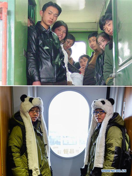 This combo photo shows passengers without seats looking out of a train traveling from Shanghai to Fuyang, as the train pulls into the Nanjing Railway Station in Nanjing, east China's Jiangsu Province, Jan. 7, 2004 (top, file photo); and twin brothers Liu Hong (L) and Liu Xiang standing next to the door of the train G118 while travelling from Rizhao, east China's Shandong Province to Beijing, capital of China, Jan. 24, 2016 (bottom, photo taken by Li Xiang). (Xinhua)