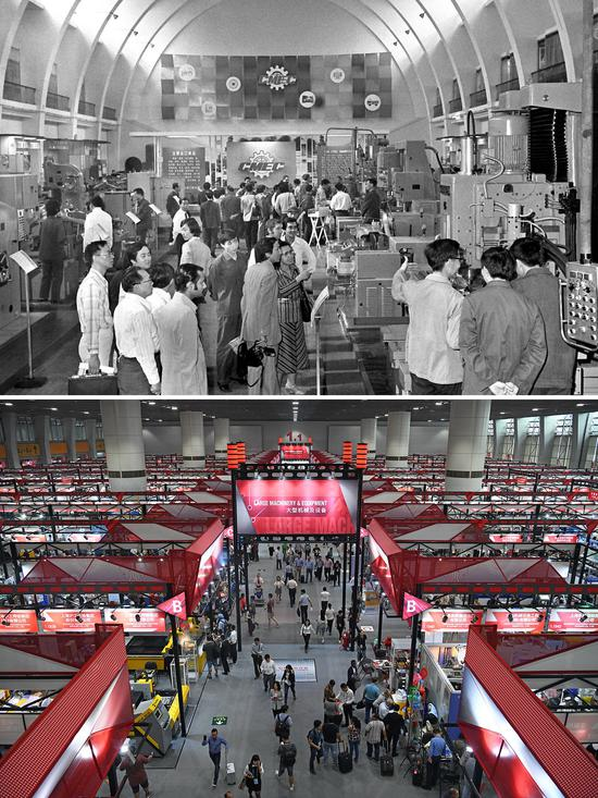 Combo photo shows the Hall of Machinery on the 45th Canton Fair in 1979 (upper, taken by Li Yanming) and the Hall of Machinery & Equipment on the 124th Canton Fair on Oct. 15, 2018 (lower, taken by Liang Xu). (Xinhua)