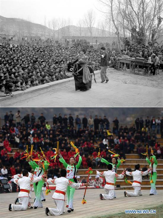 Combo photo shows artists performing in Zhidan County of Yan'an, northwest China's Shaanxi Province on March 31, 1982 (top, file photo) and visitors watching performance at Fengjiaying Village in Ansai District of Yan'an on Oct. 19, 2018 (bottom, taken by Liu Xiao). Yan'an, a former revolutionary base of the Communist Party of China (CPC), is no longer labeled