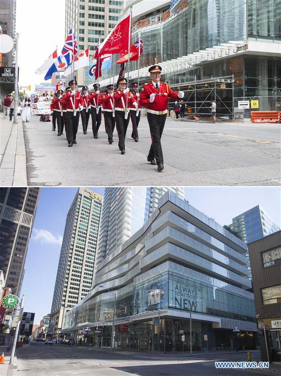 Combo photo shows the Yonge Street with a Canada Day parade on July 1, 2017 (Top) and the almost-empty street on July 1, 2020 in Toronto, Canada. The City of Toronto on Wednesday cancelled all in-person Canada Day events due to the COVID-19 pandemic. (Photo by Zou Zheng/Xinhua)