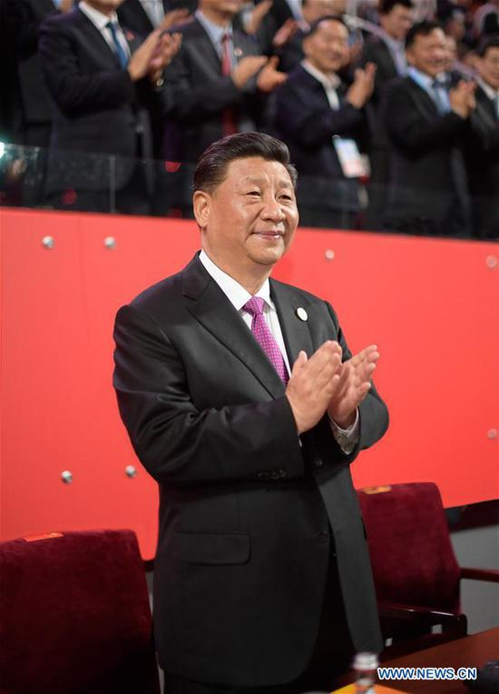 Chinese President Xi Jinping attends the Asian culture carnival, a major event of the ongoing Conference on Dialogue of Asian Civilizations, at the National Stadium in Beijing, capital of China, on May 15, 2019. Xi and his wife Peng Liyuan attended the carnival together with foreign guests on Wednesday evening. (Xinhua/Li Xueren)