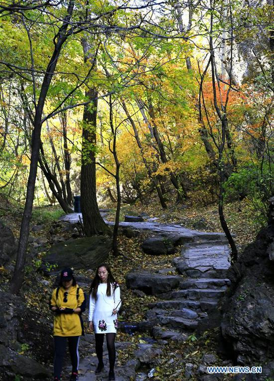 Tourists visit the Yudushan scenic area in Yanqing District of Beijing, capital of China, Oct. 10, 2018. (Xinhua/Li Xin)