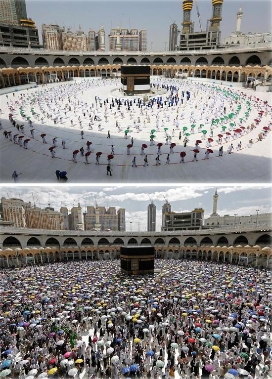 Pilgrims circle the Kaaba at the Grand Mosque in Mecca, Saudi Arabia, as this year's hajj began on Wednesday (top). The world's biggest religious rite is largely curtailed due to the coronavirus pandemic, comparing with a normal one last year (below).