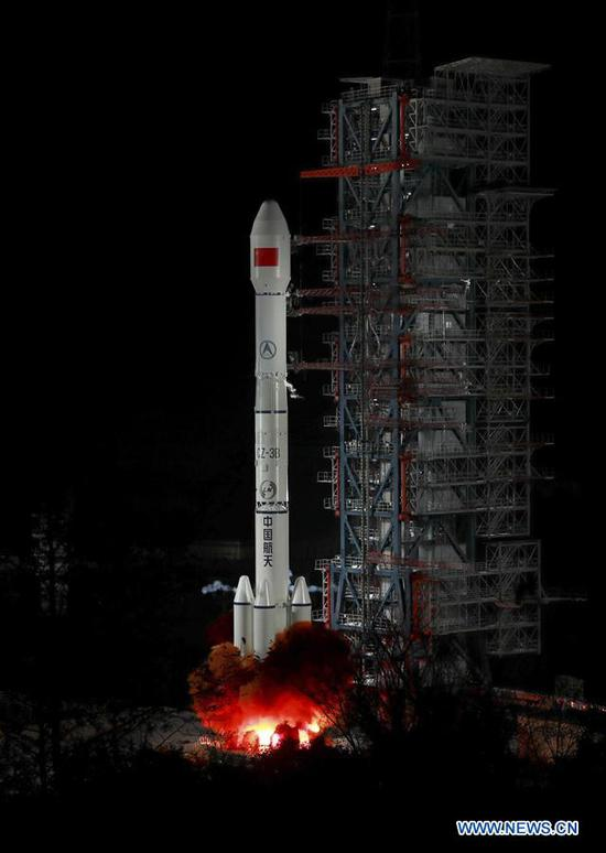 China sends Zhongxing-2D satellite into space on a Long March-3B carrier rocket from the Xichang Satellite Launch Center in Sichuan Province at 1:11 a.m., Jan. 11, 2019. The satellite has entered the preset orbit. (Xinhua/Liang Keyan)