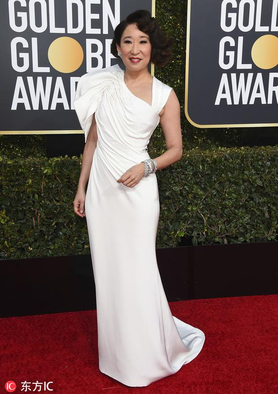 Actress Sandra Oh arrives at the 76th annual Golden Globe Awards at the Beverly Hilton Hotel on Jan 6, 2019, in Beverly Hills, United States. [Photo/IC]
