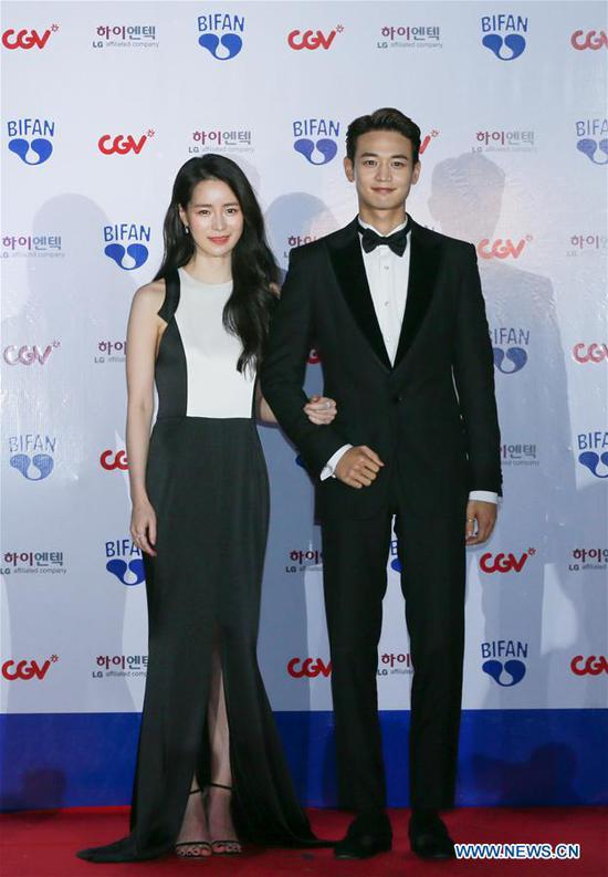 South Korean singer Choi Min-ho (R) and actress Lim Ji-yeon appear at the 22nd Bucheon International Fantastic Film Festival red carpet in Bucheon, South Korea, July 12, 2018. The 10-day 22nd Bucheon International Fantastic Film Festival, with its theme as