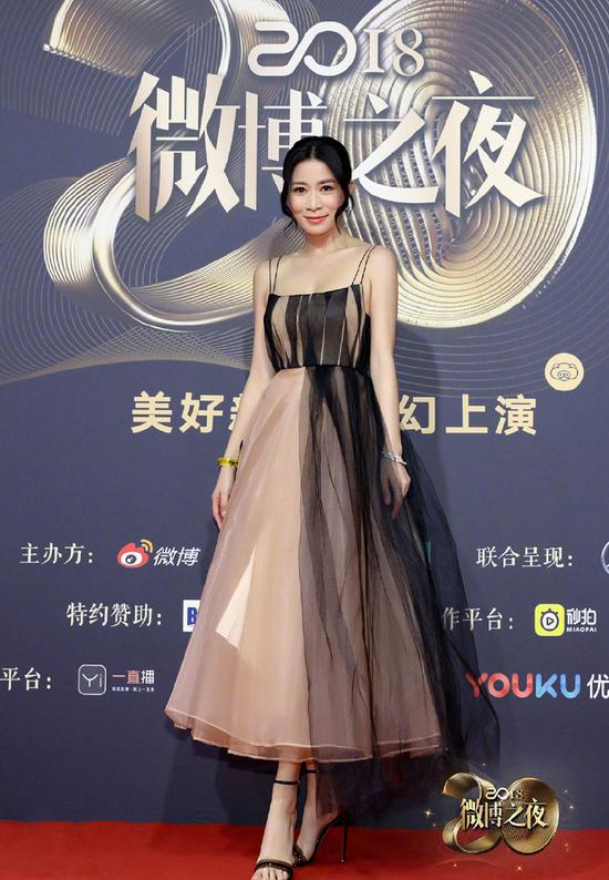 Chinese actress Charmaine Sheh poses as she arrives on the red carpet for the 2018 Weibo Night Ceremony in Beijing, China, Jan 11.