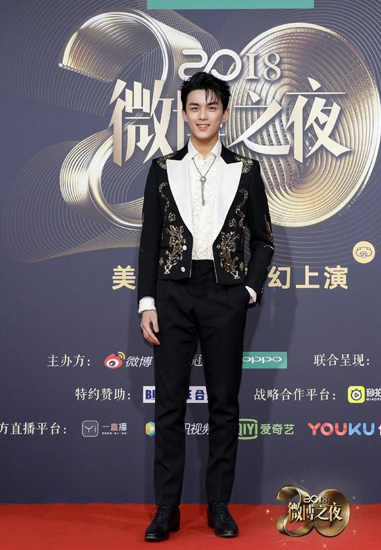 Chinese actor Wu Lei poses as he arrives on the red carpet for the 2018 Weibo Night Ceremony in Beijing, China, Jan 11.