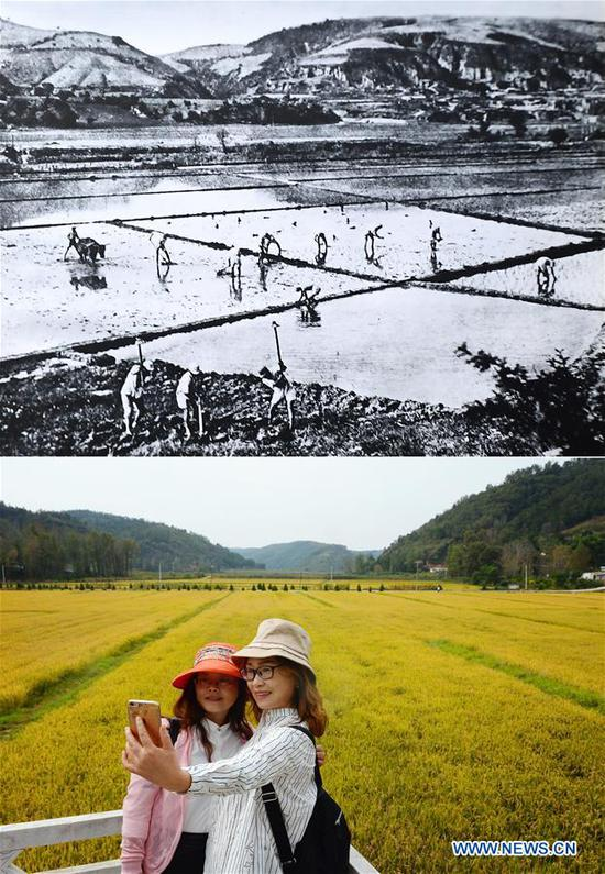 Combo photo shows a farming scene at Nanniwan during the War of Chinese People's Resistance Against Japanese Aggression in Yan'an, northwest China's Shaanxi Province (top, file photo) and visitors taking photos at Nanniwan in Yan'an on Sept. 12, 2018 (bottom, taken by Liu Xiao). Yan'an, a former revolutionary base of the Communist Party of China (CPC), is no longer labeled