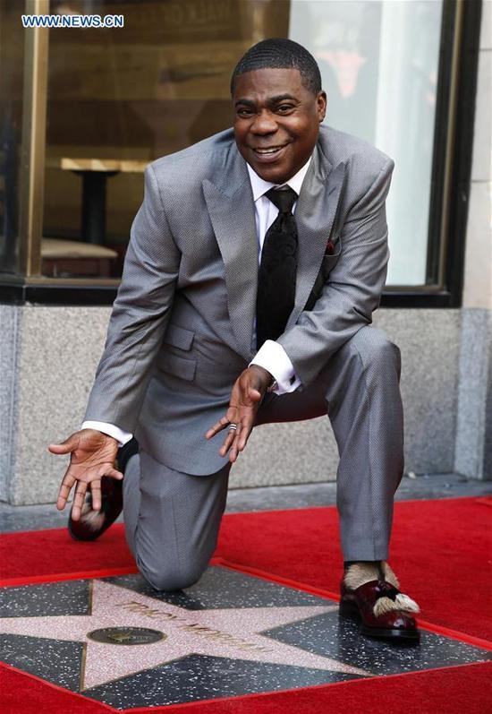 Actor Tracy Morgan attends his star honoring ceremony on the Hollywood Walk of Fame in Los Angeles, the United States, April 10, 2017. Tracy Morgan was honored with a star on the Hollywood Walk of Fame on Tuesday. (Xinhua/Zhao Hanrong)