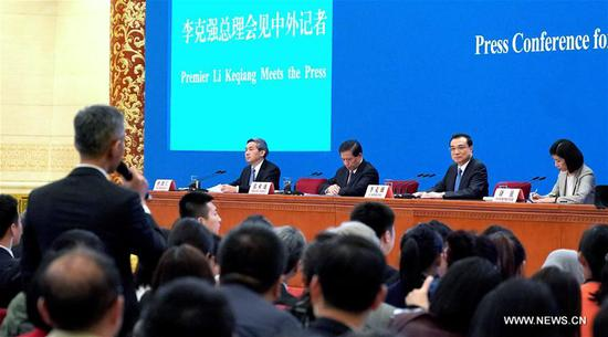 Chinese Premier Li Keqiang meets the press after the conclusion of the second session of the 13th National People's Congress (NPC) at the Great Hall of the People in Beijing, capital of China, March 15, 2019. (Xinhua/Wang Yuguo)