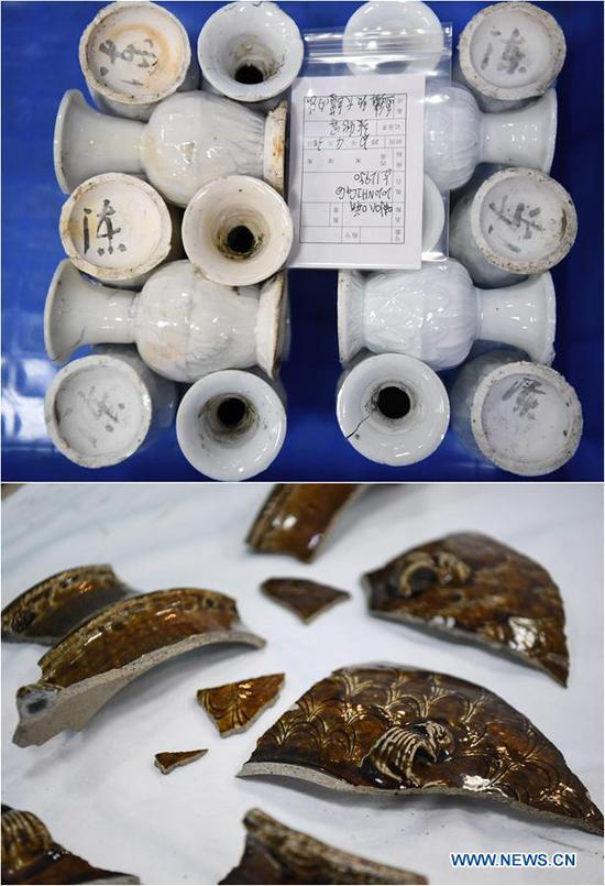 Combo photo taken on May 12, 2020 shows porcelains (top) and pieces of porcelain products found on the wreckage of Nanhai No. 1 in Yangjiang, south China's Guangdong Province. The excavation of the Nanhai No. 1, a shipwreck dating back to the Song Dynasty (960 A.D.-1279 A.D.), was listed by China in its top 10 archaeological discoveries for 2019. More than 180,000 relics including porcelain products, gold, silver, copper and iron relics and coins have been found from this ancient merchant ship. (Xinhua/Deng Hua)
