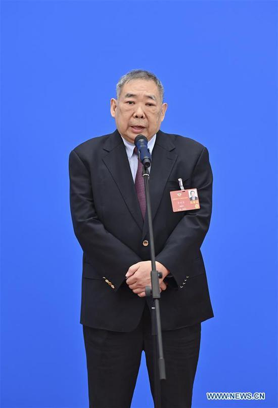 Zhu Yilong, a member of the 13th National Committee of the Chinese People's Political Consultative Conference (CPPCC), gives an interview via video link ahead of the closing meeting of the third session of the 13th CPPCC National Committee at the Great Hall of the People in Beijing, capital of China, May 27, 2020. (Xinhua/Liu Jinhai)