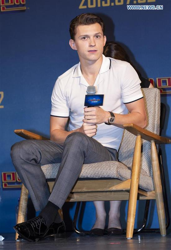 Actor Tom Holland speaks during a press conference of the film