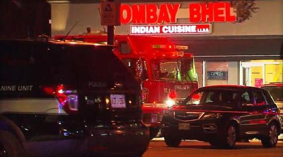 Emergency services vehicles are seen outside the Bombay Bhel restaurant in Mississaugua, Canada, a suburb of Toronto, after an explosion on May 24, 2018.