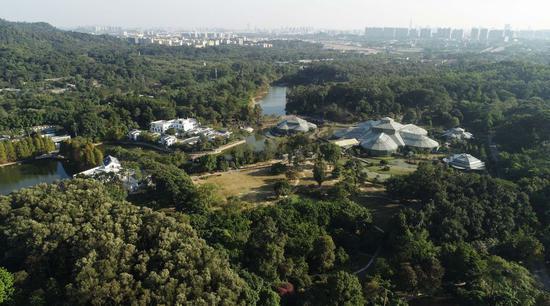 Aerial photo taken on Dec. 3, 2019 shows a view of the South China Botanical Garden in Guangzhou, south China's Guangdong Province. (Xinhua/Deng Hua)