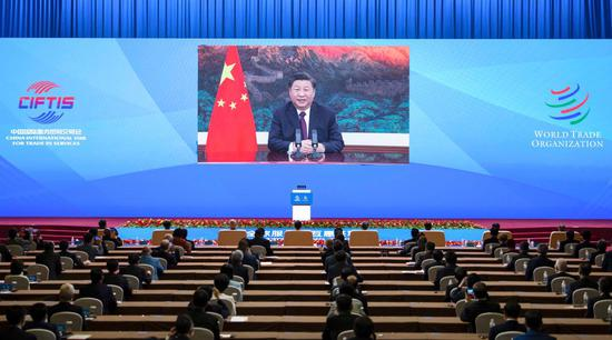 Chinese President Xi Jinping addresses the Global Trade in Services Summit of the 2020 China International Fair for Trade in Services (CIFTIS) via video on Sept. 4, 2020. (Xinhua/Li Tao)