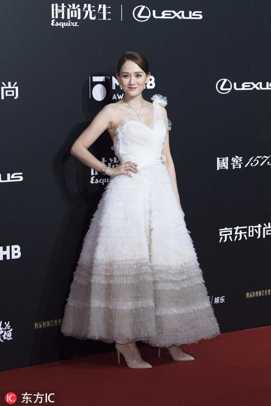 Chinese actress Joe Chen poses as she arrives for the 15th Esquire Men At His Best (MAHB) Award 2018 in Beijing, China, December 4, 2018. [Photo/IC]