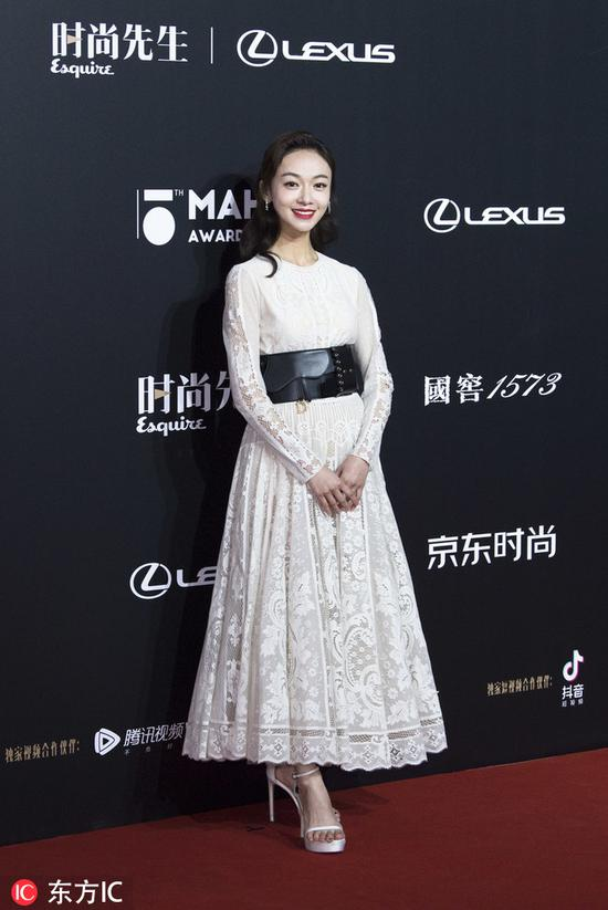 Chinese actress Wu Jinyan poses as she arrives for the 15th Esquire Men At His Best (MAHB) Award 2018 in Beijing, China, December 4, 2018. [Photo/IC]