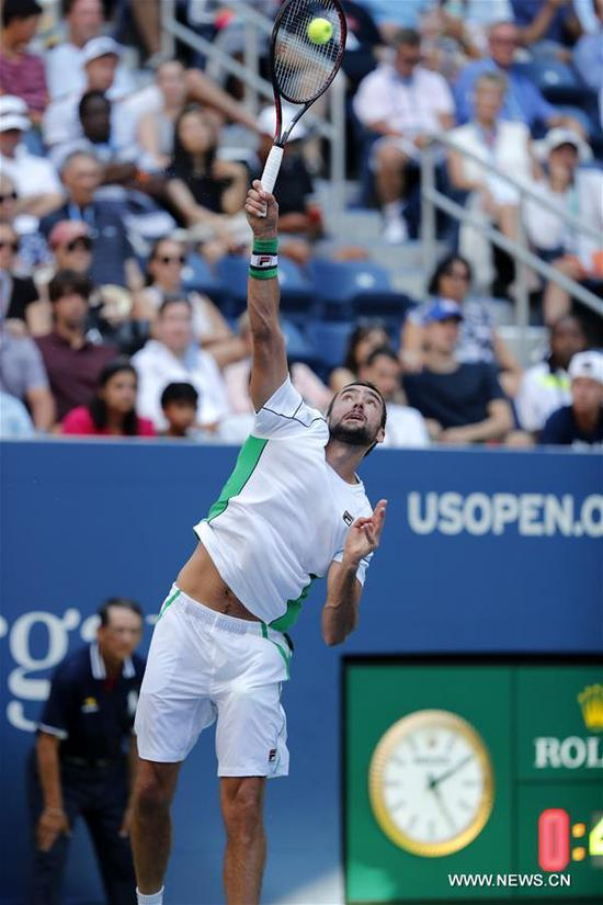 Marin Cilic of Croatia serves during the men's singles fourth round match against David Goffin of Belgium at the 2018 US Open in New York, the United States, Sept. 3, 2018. Cilic won 3-0. (Xinhua/Li Muzi)