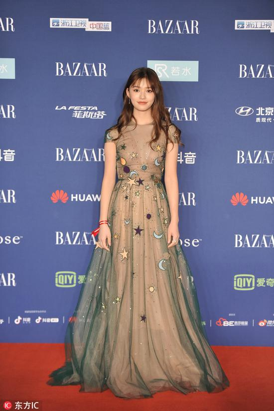 Chinese actress Lin Yun arrives on the red carpet for the 2018 Bazaar Star Charity Night Gala in Beijing, China, Oct 12, 2018. [Photo/IC]