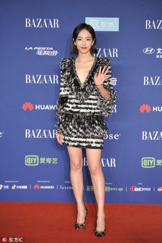 Chinese actress Song Qian arrives on the red carpet for the 2018 Bazaar Star Charity Night Gala in Beijing, China, Oct 12, 2018. [Photo/IC]