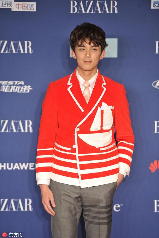Chinese actor Wu Lei arrives on the red carpet for the 2018 Bazaar Star Charity Night Gala in Beijing, China, Oct 12, 2018. [Photo/IC]
