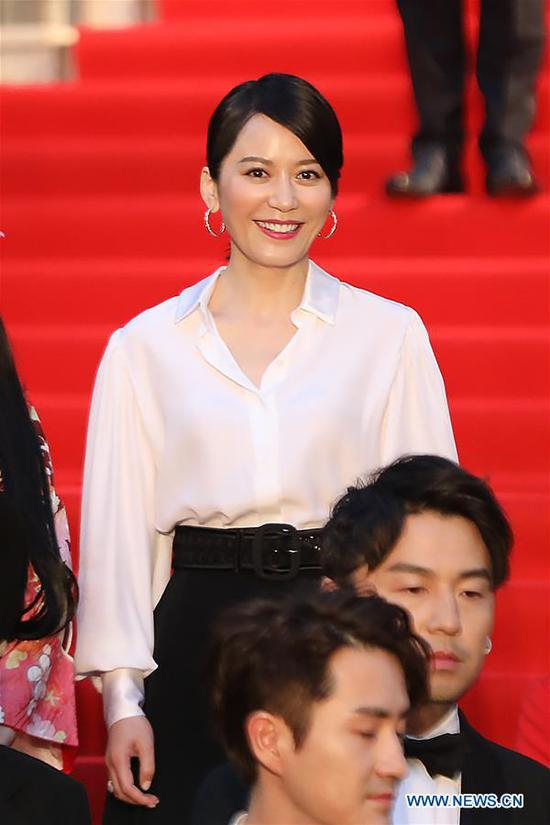 Chinese actress Yu Feihong is pictured on the red carpet for the opening ceremony of the 31st Tokyo International Film Festival, Tokyo, Japan, Oct. 25, 2018. (Xinhua/Du Xiaoyi)