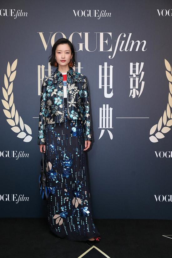 Chinese actress Du Juan arrives on the red carpet for the Vogue Film fashion event 2018 in Beijing, China, Nov 7, 2018. [Photo/IC]