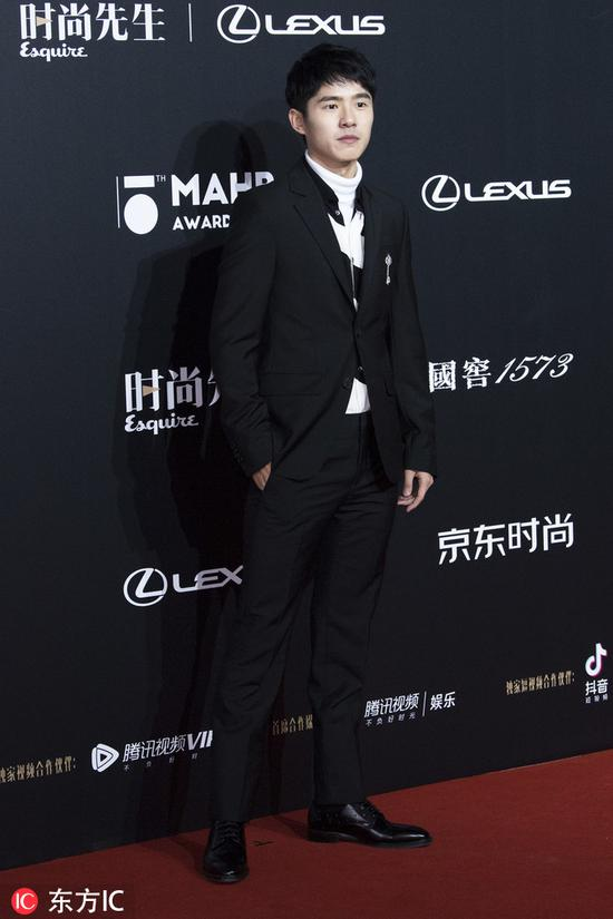 Chinese actor Liu Haoran poses as he arrives for the 15th Esquire Men At His Best (MAHB) Award 2018 in Beijing, China, December 4, 2018. [Photo/IC]