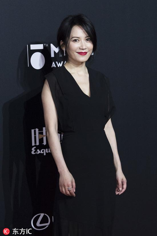 Chinese actress Yu Feihong poses as she arrives for the 15th Esquire Men At His Best (MAHB) Award 2018 in Beijing, China, December 4, 2018. [Photo/IC]