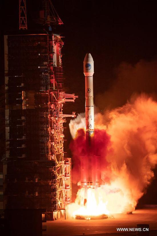 China sends a new satellite of the BeiDou Navigation Satellite System (BDS) into space from the Xichang Satellite Launch Center in Xichang, southwest China's Sichuan Province, April 20, 2019. (Xinhua/Guo Wenbin)