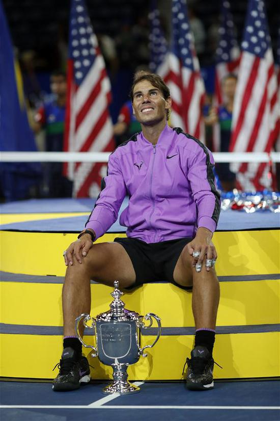 Rafael Nadal of Spain poses during the awarding ceremony after the men's singles final match between Rafael Nadal of Spain and Daniil Medvedev of Russia at the 2019 US Open in New York, the United States, Sept. 8, 2019. (Xinhua/Li Muzi)