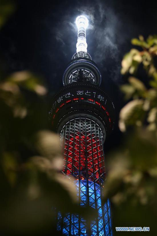 Tokyo Skytree is illuminated with the Paralympic symbol colours to mark one-year-to-go until the start of the postponed Tokyo 2020 Paralympic Games in Tokyo, Japan, Aug. 24, 2020. (Xinhua/Du Xiaoyi)