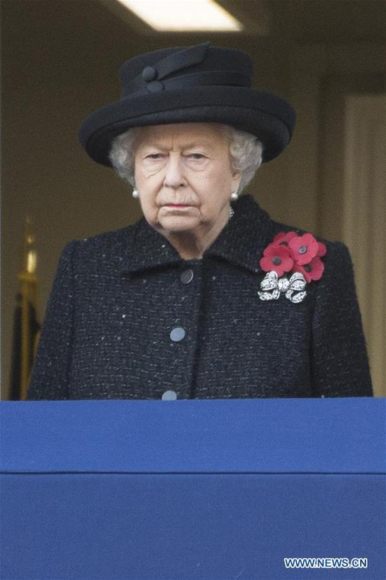 British Queen Elizabeth II attends the Remembrance Sunday Service in London, Britain, on Nov. 10, 2019. The Remembrance Sunday ceremony is an annual event to pay tribute to the war dead of Britain and the Commonwealth, which is held on the nearest Sunday to the anniversary of the end of World War I on Nov. 11, 1918. (Photo by Ray Tang/Xinhua)