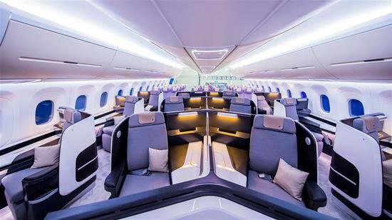 The first-class, business-class and economy-class seats of the CR929 are on display at the at the Airshow China in Zhuhai.