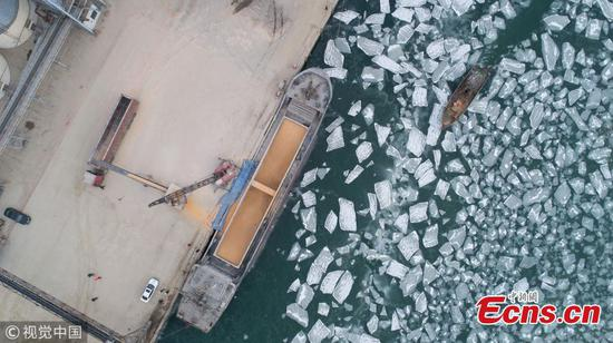 Ice blocks floating in coastal waters in Laizhou City, East China's Shandong Province, Jan. 9, 2019. Local marine authorities have increased patrols and updates on possible threats to ships. (Photo/VCG)