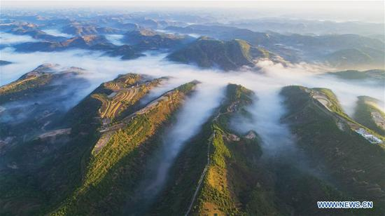 Aerial photo taken on June 8, 2019 shows the scenery of hills covered with green at Guopan Village of Wuqi County in Yan'an City, northwest China's Shaanxi Province. Wuqi County has carried out a development policy since 1998 that returned farmland to forest for ecological protection and sustainable development purposes. (Xinhua/Zong Mingyuan)