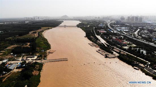 Aerial photo taken on Sept. 18, 2019 shows the Jinan section of the Yellow River, in east China's Shandong Province. (Xinhua/Wang Kai)