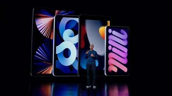 This handout image shows Apple CEO Tim Cook introduces the latest iPad and iPad mini to the iPad lineup during a special event at Apple Park, as seen in this still image from the keynote video.