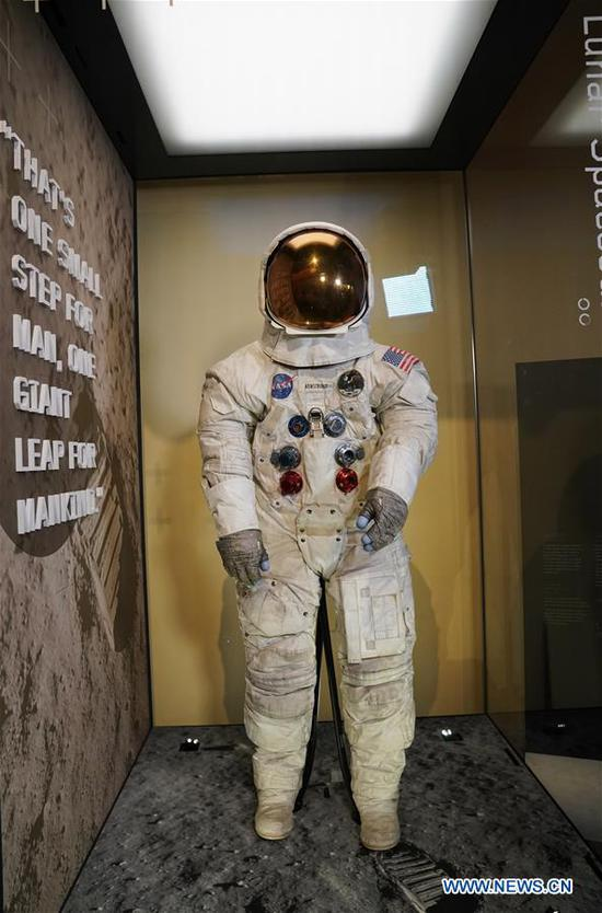 U.S. astronaut Neil Armstrong's Apollo 11 spacesuit is seen at the Smithsonian National Air and Space Museum in Washington D.C., the United States, July 16, 2019. The spacesuit is back on display after extensive conservation in celebration of the 50th anniversary of the Apollo 11 Moon landing. (Xinhua/Liu Jie)