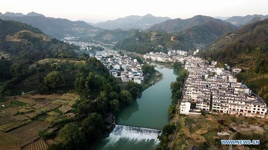 Aerial photo taken by drone shows scenery of Changxi Village in Shexian County, east China's Anhui Province, May 9, 2018. (Xinhua/Zhang Duan)
