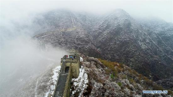 Aerial photo taken on April 9, 2019 shows the snowy scenery of the Mutianyu Great Wall in Beijing, capital of China. (Xinhua/Bu Xiangdong)