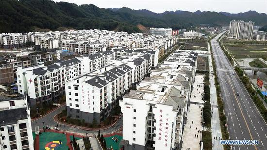 Aerial photo taken on April 11, 2019 shows a settlement for poverty relief relocation in Sansui County, southwest China's Guizhou Province. Since January, households have, one after another, moved into a settlement for poverty relief relocation in Sansui County. Many service facilities, including poverty alleviation workshop, health center, nursery and skill training center, are accessible to residents in the settlement. (Xinhua/Yang Wenbin)