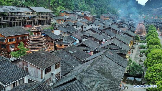Aerial photo taken on April 14, 2019 shows the Dong village of Zhaoxing, Liping County, southwest China's Guizhou Province. (Xinhua/Ou Dongqu)