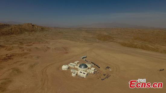 A picture taken with a drone shows an aerial view of the C-Space Project, a Mars simulation base in the Gobi Desert in Jinchang, Gansu Province, China, 16 April 2019. (Photo/China News Service)